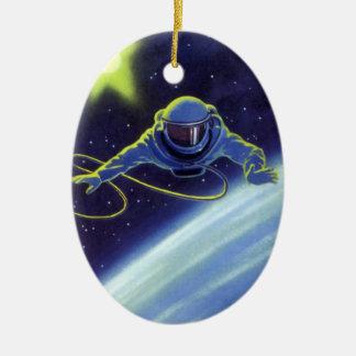 Vintage Science Fiction Astronaut on a Space Walk Ceramic Oval Decoration