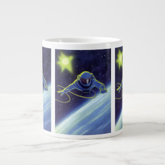 Vintage Science Fiction Astronaut on a Space Walk Large Coffee Mug