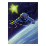 Vintage Science Fiction Astronaut on a Space Walk Poster