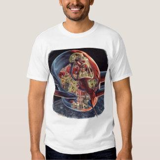 Vintage Science Fiction Astronaut Rocket Spaceship Tshirt
