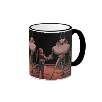 Vintage Science Fiction Astronaut Shake Hand Alien Ringer Mug