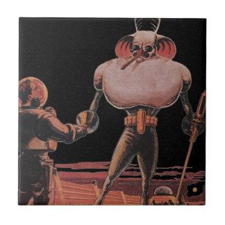 Vintage Science Fiction Astronaut Shake Hand Alien Tile