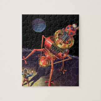 Vintage Science Fiction Astronaut with Alien Robot Jigsaw Puzzle