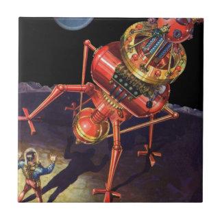 Vintage Science Fiction Astronaut with Alien Robot Tile
