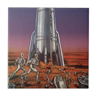 Vintage Science Fiction, Astronauts Beetle Aliens Tile