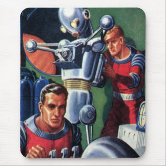Vintage Science Fiction Astronauts Fixing a Robot Mouse Pad