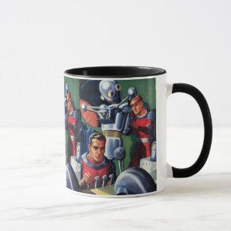 Vintage Science Fiction Astronauts Fixing a Robot Mug