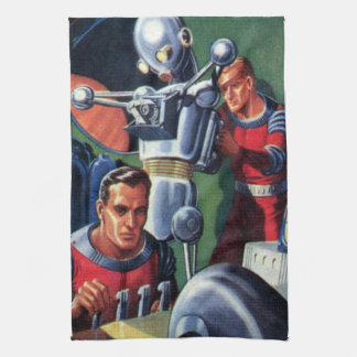 Vintage Science Fiction Astronauts Fixing a Robot Tea Towel