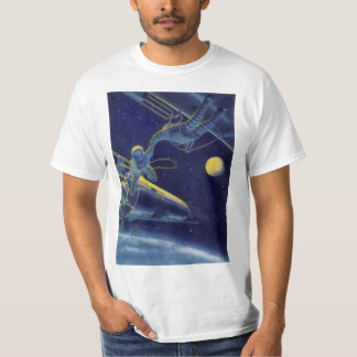 Vintage Science Fiction Astronauts in Outer Space T-Shirt