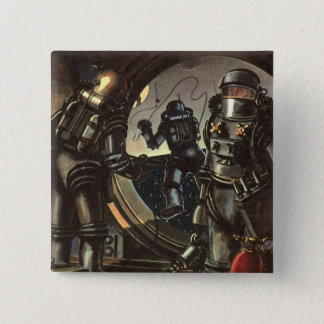 Vintage Science Fiction Astronauts on a Space Walk 15 Cm Square Badge