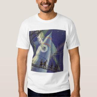 Vintage Science Fiction Astronauts on Rocket Ship Shirts