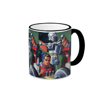 Vintage Science Fiction Astronauts with a Robot Ringer Mug