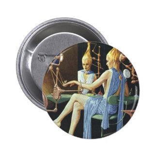 Vintage Science Fiction Beauty Salon Spa Manicures 6 Cm Round Badge