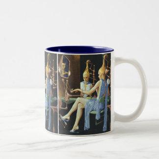Vintage Science Fiction Beauty Salon Spa Manicures Two-Tone Mug