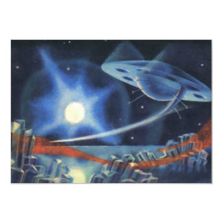Vintage Science Fiction Blue Planet with Spaceship Card