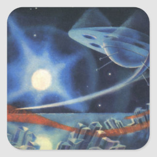 Vintage Science Fiction Blue Planet with Spaceship Square Sticker
