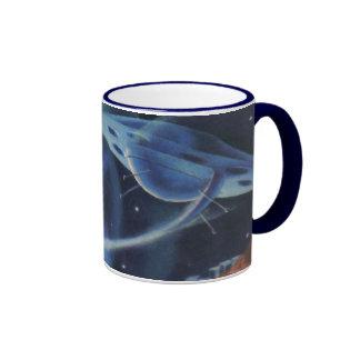 Vintage Science Fiction Blue Spaceship Over Planet Ringer Mug