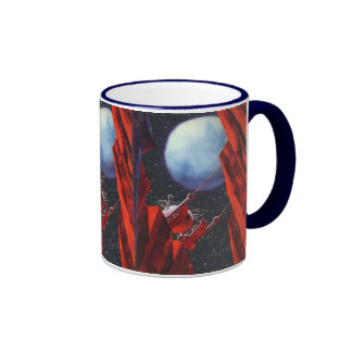 Vintage Science Fiction, Canyon Space Moon Rover Ringer Mug