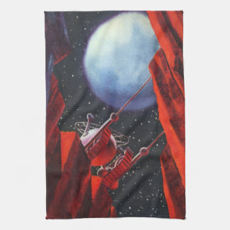 Vintage Science Fiction, Canyon Space Moon Rover Tea Towel