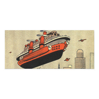 Vintage Science Fiction Cruise Ship Helicopter 10 Cm X 24 Cm Invitation Card
