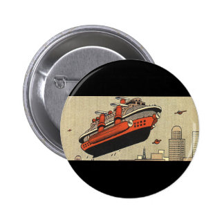 Vintage Science Fiction Cruise Ship Helicopter 6 Cm Round Badge