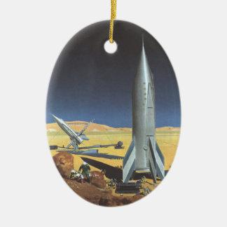 Vintage Science Fiction Desert Planet with Rockets Ceramic Oval Decoration