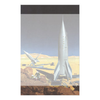 Vintage Science Fiction Desert Planet with Rockets Customized Stationery
