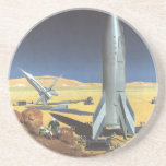 Vintage Science Fiction Desert Planet with Rockets Drink Coasters
