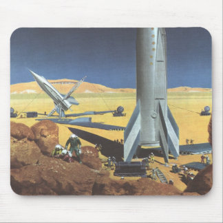 Vintage Science Fiction Desert Planet with Rockets Mouse Mat