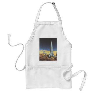 Vintage Science Fiction Desert Planet with Rockets Standard Apron