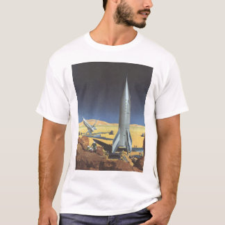 Vintage Science Fiction Desert Planet with Rockets T-Shirt