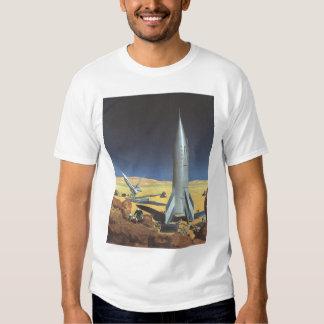Vintage Science Fiction Desert Planet with Rockets Tee Shirts