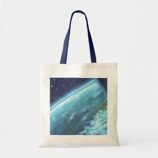 Vintage Science Fiction, Earth at Night with Stars Budget Tote Bag