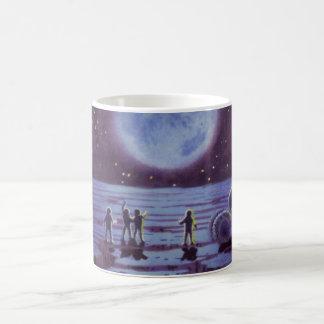 Vintage Science Fiction Earth Rover Aliens on Moon Basic White Mug