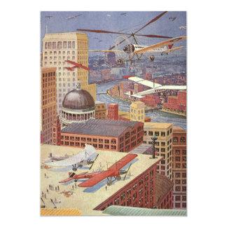 Vintage Science Fiction Flying Transporation Invitations