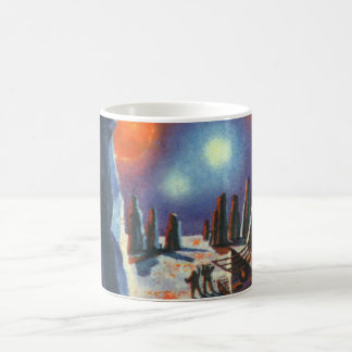 Vintage Science Fiction Foreign Planet with Aliens Basic White Mug