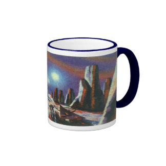 Vintage Science Fiction Foreign Planet with Aliens Ringer Mug