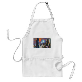 Vintage Science Fiction Foreign Planet with Aliens Standard Apron