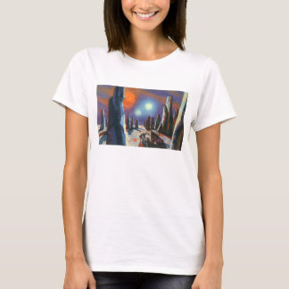 Vintage Science Fiction Foreign Planet with Aliens T-Shirt