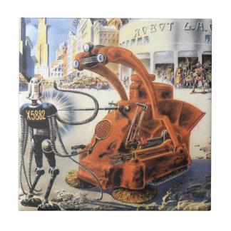 Vintage Science Fiction Futuristic City Alien Wars Tile