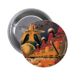 Vintage Science Fiction Futuristic City Flying Car Pinback Buttons