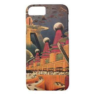 Vintage Science Fiction Futuristic City Flying Car iPhone 8/7 Case