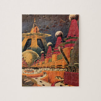 Vintage Science Fiction Futuristic City Flying Car Jigsaw Puzzle