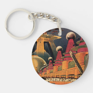 Vintage Science Fiction Futuristic City Flying Car Key Ring