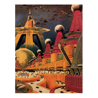 Vintage Science Fiction Futuristic City Flying Car Postcards