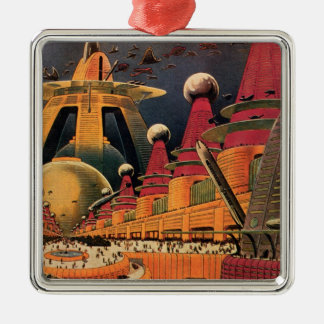 Vintage Science Fiction Futuristic City Flying Car Silver-Colored Square Decoration