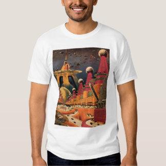 Vintage Science Fiction Futuristic City Flying Car T Shirt