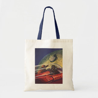 Vintage Science Fiction, Futuristic City on Moon Budget Tote Bag