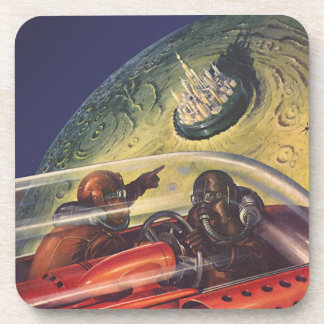 Vintage Science Fiction, Futuristic City on Moon Coaster