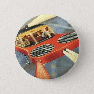 Vintage Science Fiction Futuristic Flying Car 6 Cm Round Badge